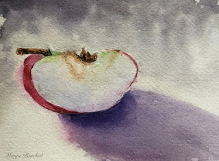 Still life, water color painting of a slice of apple on Arches Cold pressed paper, By Manju Panchal