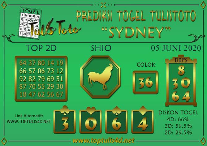 Prediksi Togel SYDNEY TULISTOTO 05 JUNI 2020