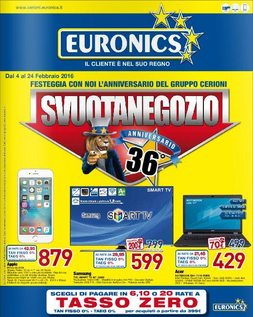 Volantino Euronics Cerioni - Febbraio 2016 - Ultimo - Nuovo - Data: 4-24 febbraio