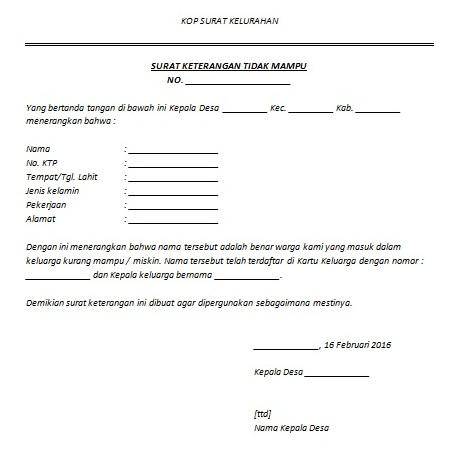 Surat Keterangan Tidak Mampu Sktm Untuk Keringanan Biaya