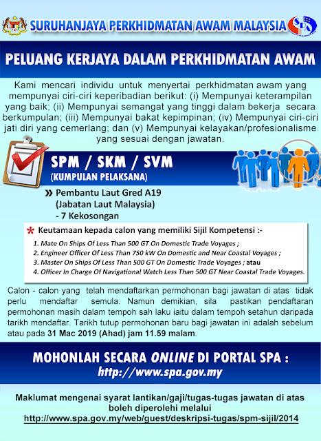 Jawatan Kosong di Jabatan Laut Malaysia