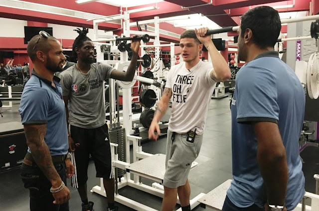 Picture 3: Tyler Johnson and Briante Weber of Miami Heats at the gymnasium with Shikar Dhawan and R Ashwin