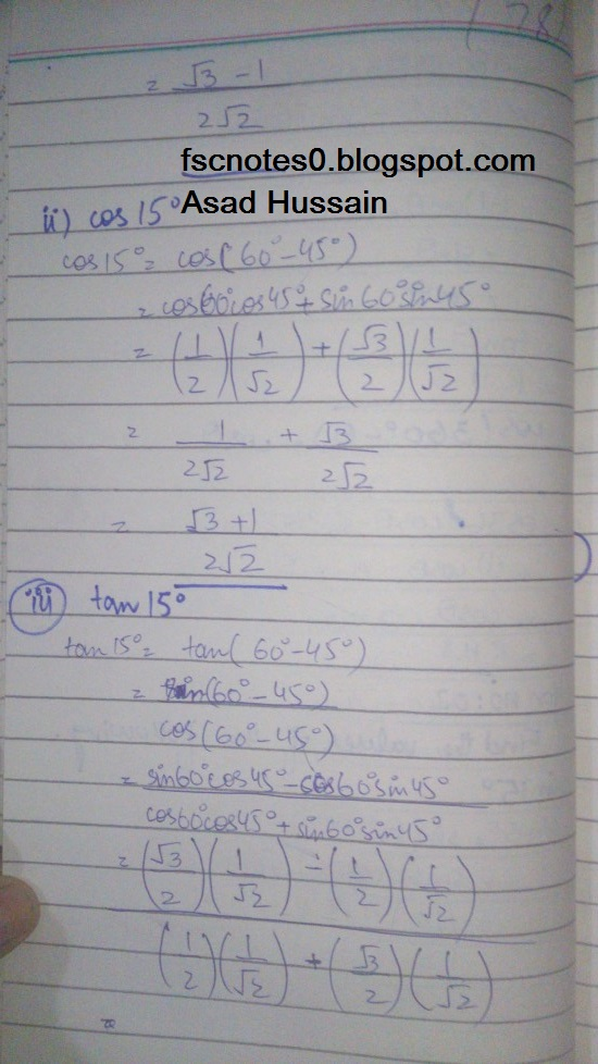 FSc ICS FA Notes Math Part 1 Chapter 10 Trigonometric Identities Exercise 10.2 Question 2 Written by Asad Hussain & Ayesha Hussain 1