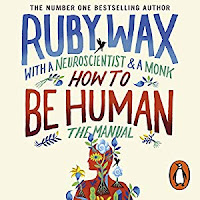 How to be Human audiobook cover. A stylised painting of a himan head and upper torso covered in flowers sits beneath the title in watercolour hand-lettering style font.