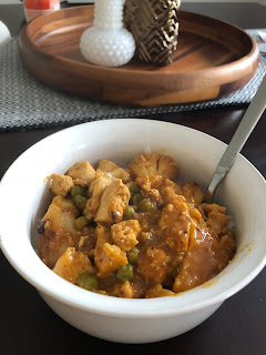 red curry chicken cauliflower peas healthy jasmine rice