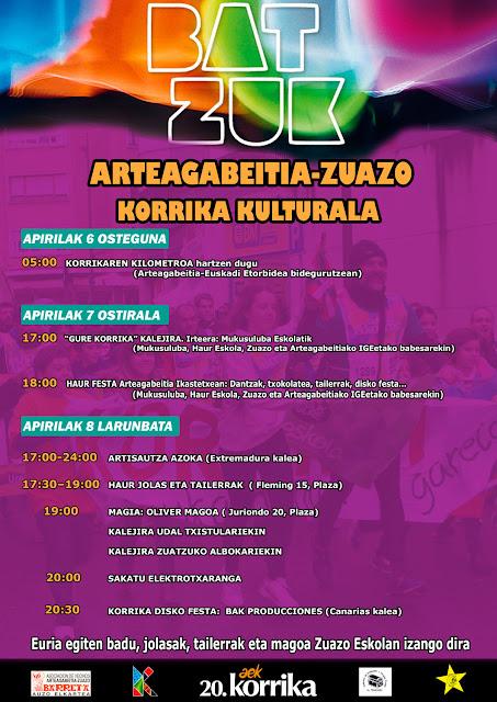 Cartel de actividades de la Korrika en Arteagabeitia-Zuazo