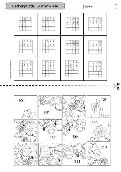 ideenreise rechenpuzzle zur schriftlichen addition. Black Bedroom Furniture Sets. Home Design Ideas