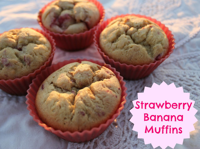 You'll love eating frozen fruit in these delicious Strawberry Banana Muffins!