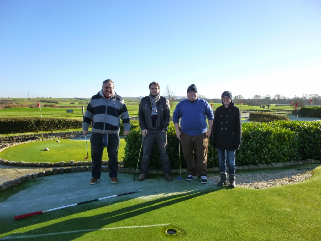 The Cambridgeshire & Essex Mini Golf Club members at their 2014 Invitational Tournament at the Dunton Hills Family Golf Centre in West Horndon, near Brentwood, Essex. From l-r Adrian Amey, Chris Wood, Mark Wood, Emily Gottfried