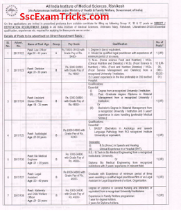 AIIMS Rishikesh Group A B C Recruitment 2017
