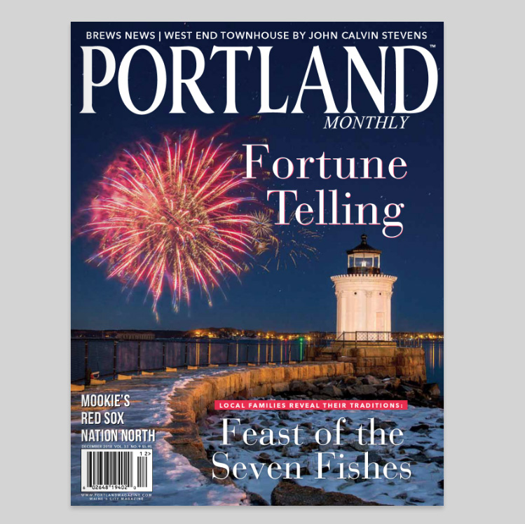 December 2018 Portland Magazine cover photo by Bug Light In South Portland by Corey Templeton.