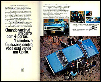 Opala 4 portas - GM, Chevrolet,  anos 70.  brazilian advertising cars in the 70. história da década de 70; Brazil in the 70s; propaganda carros anos 70; Oswaldo Hernandez;