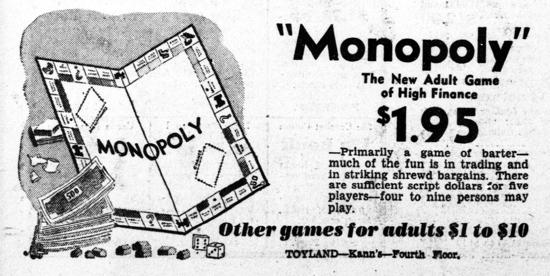 Monopoly advertisement 1935