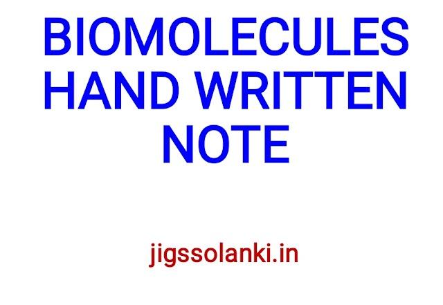 BIOMOLECULES HAND WRITTEN NOTE