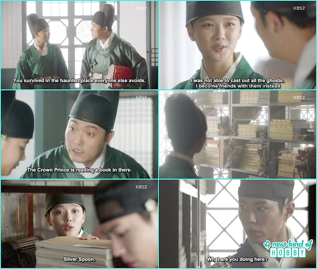 eunch jang sent ra on in the library where king is reading the books - Love in The Moonlight - Episode 3 Review