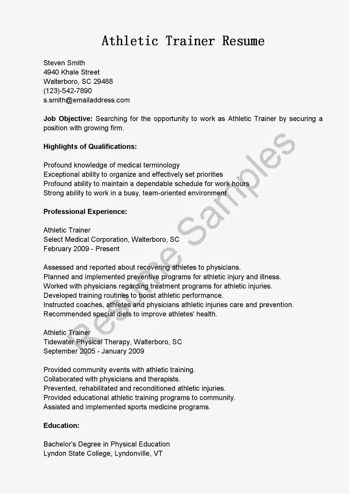 Sample Trainer Resume Resume Samples Athletic Trainer Resume Sample