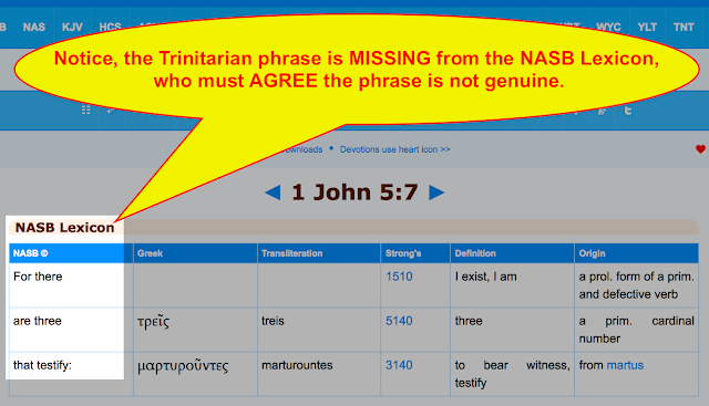 Notice, the Trinitarian phrase is MISSING from the NASB Lexicon, who must AGREE the phrase is not genuine.