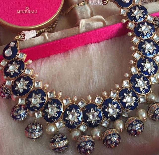 Meena Work Blue Sapphire Necklace