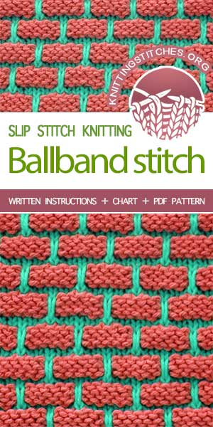 #KnittingStitches -- Free stitch pattern. The Art of Slip-Stitch Knitting, knit Ballband Stitch. I love the texture and the pops of color #knitting #knittingpattern