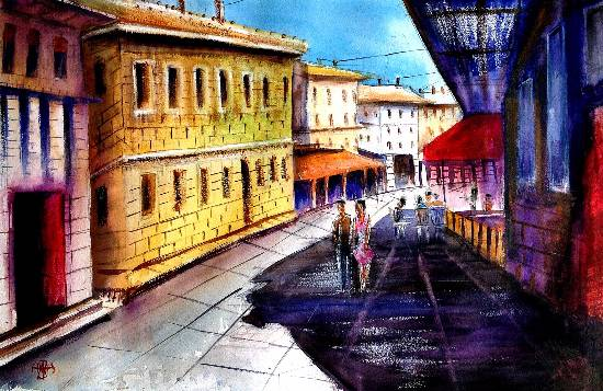 Cityscape XII, watercolour painting by Ivan Gomes (part of his portfolio on www.indiaart.com)