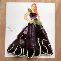 Arte con collage de comida - berenjena