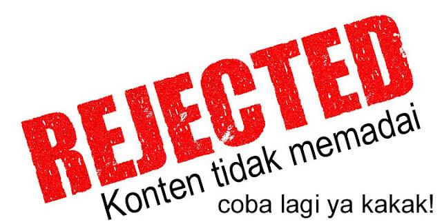 Rejected logo - Konten Tidak Memadai Google Adsense