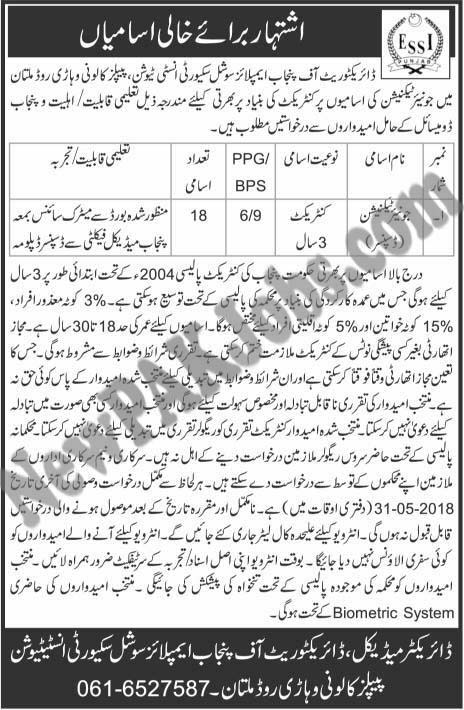 Junior Technician Jobs in Directorate of Punjab Employees Social Security Institutions