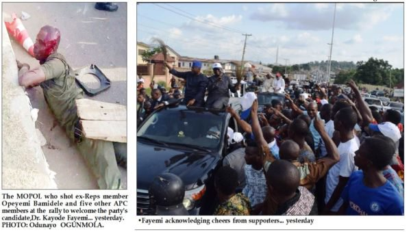 CONFUSION AS APC ATTACKED  FAYEMI AS COP SHOOTS THEM