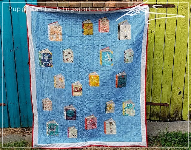 Puppilalla, Modern Patchwork, Tall Tales Block, Foundation Paper Piecing, Fussy Cut, Throw Quilt, Blanket, Kate basti