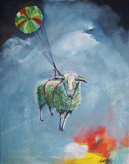 sheep, får, kunst, art, gallery, gladefarver, faldskærm, himmel, sky, maleri, ayoe lise lysgaard pløger