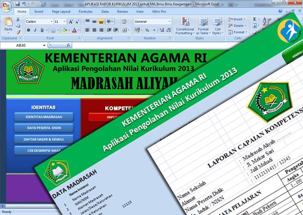 Aplikasi Raport Kurikulum 2013 untuk MA (Madrasah Aliyah) Format Microsoft Excel