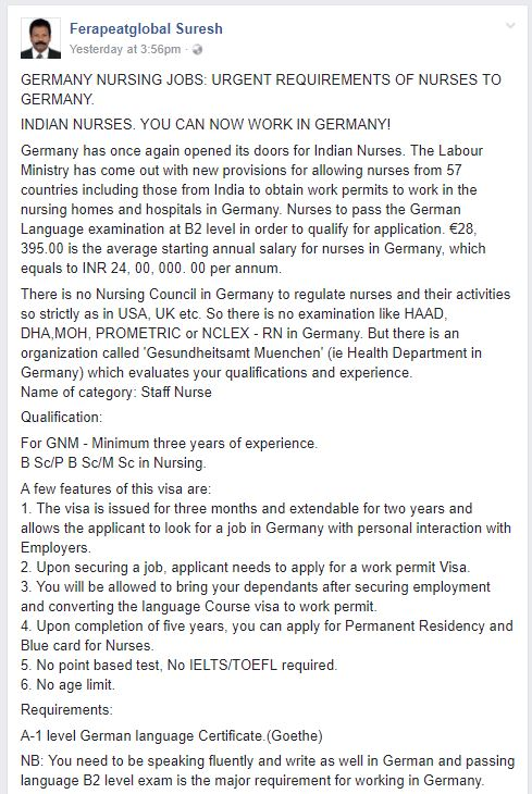 urgent requirements of nurses to germany