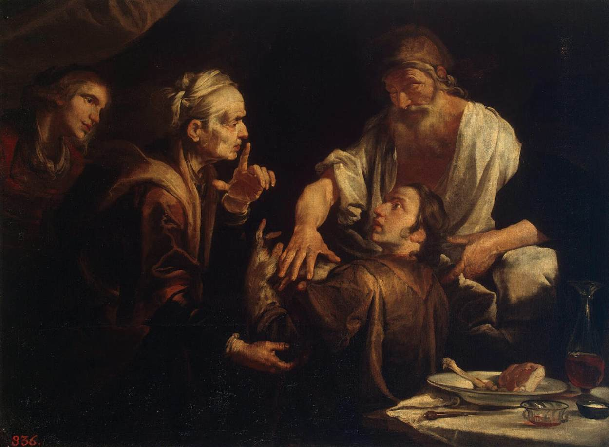 Isaac Blessing Jacob - Gioachino Assereto - religious Painting Art