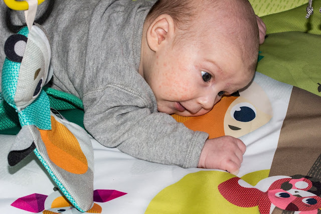 Tummy Time on the washable play mat