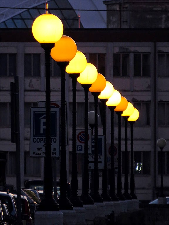 Lamp posts at night, Fosso Reale, Livorno