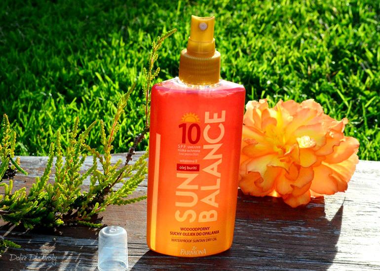 Sun Balance Wodoodporny suchy olejek do opalania SPF10 Laboratorium Farmona recenzja