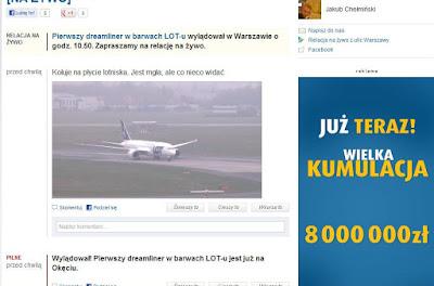 Dreamliner - screen z Gazety Wyborczej
