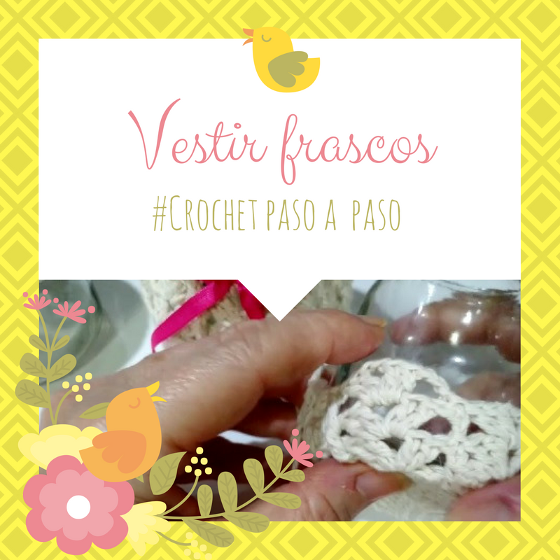 Ideas para decorar frascos vestidos con crochet