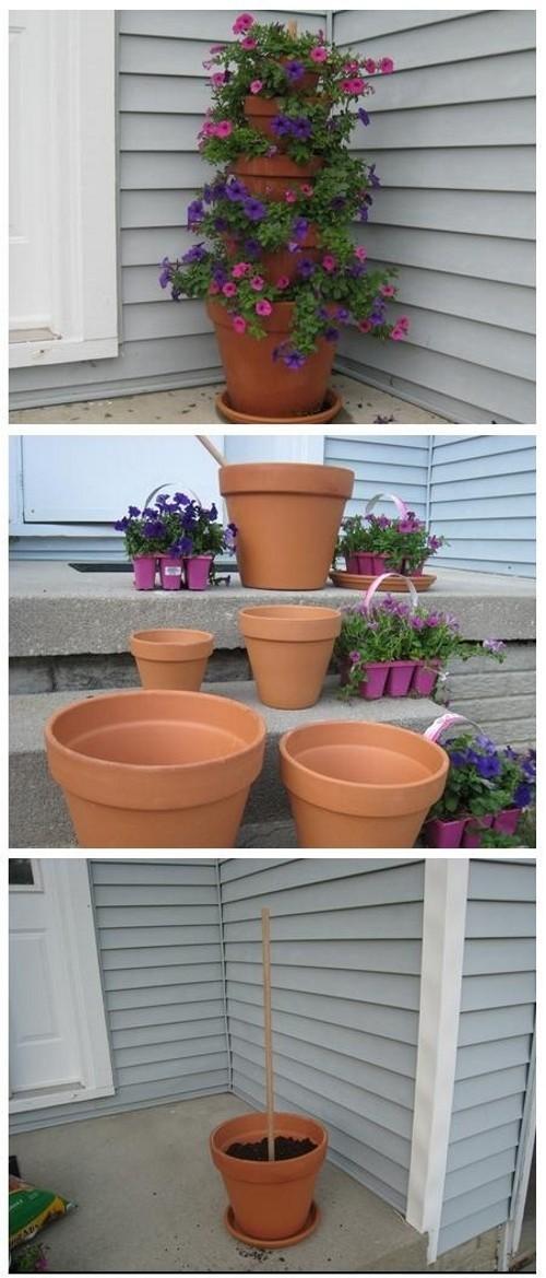 Como fazer uma torre de vasos