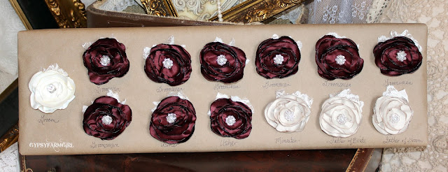 vintage glam fabric flower boutonnieres
