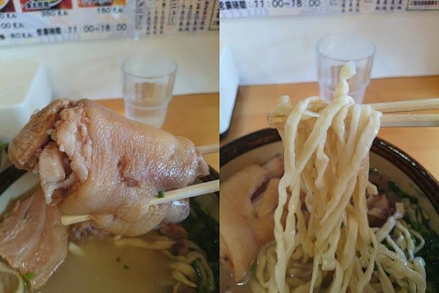 テビチと特注ちぢれ麺の写真
