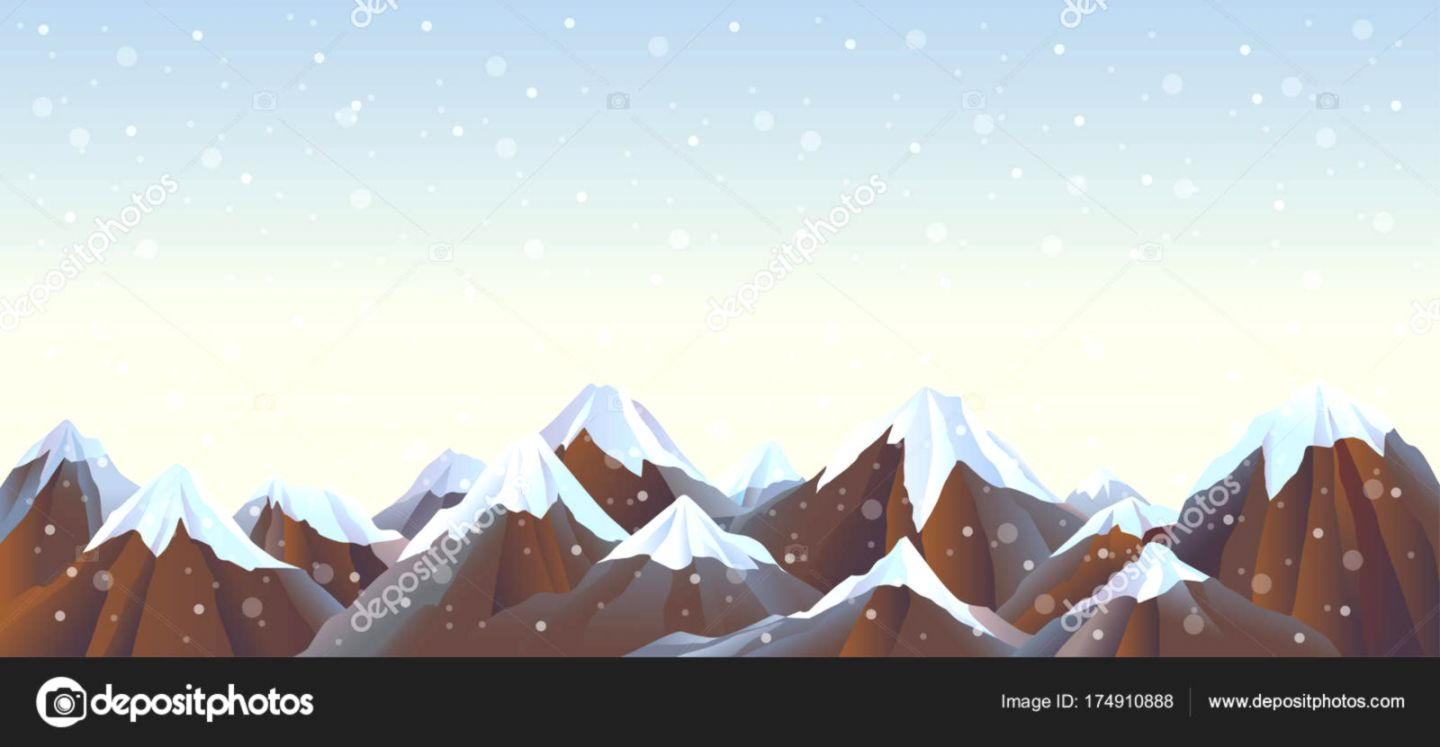 Mountain Landscape Snow Capped Mountains Panoramic Winter Relief