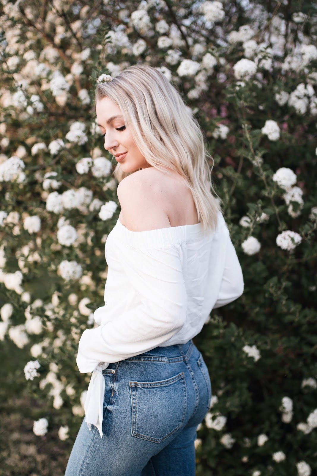 off-the-shoulder + high-waisted jeans