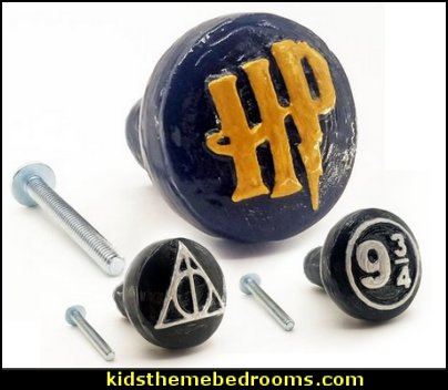 Harry Potter Drawer Pulls  Harry potter themed bedrooms - harry potter bedroom decor - Harry Potter decorating ideas - Harry Potter Room Decor - Harry Potter Bedroom Ideas - Harry Potter  bedding - Harry Potter wall decals - Harry Potter wall murals - harry potter furniture - harry potter party supplies - castle decorating props - harry potter party decorations - Magical Hogwarts House Theme - harry potter home decor - harry potter bedroom decorating ideas