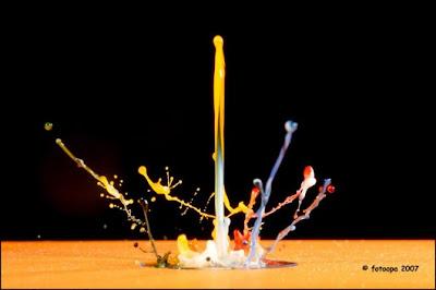 fotografía creativa y liquido de colores