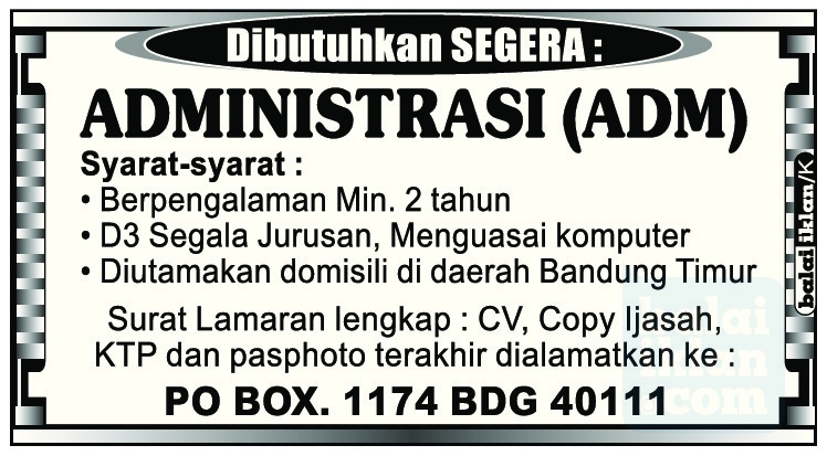 Lowongan Kerja Administrasi Bandung Juni 2016