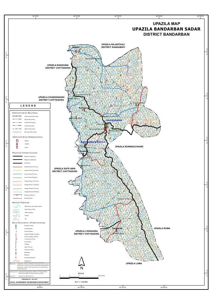 Bandarban Sadar Upazila Map Bandarban District Bangladesh