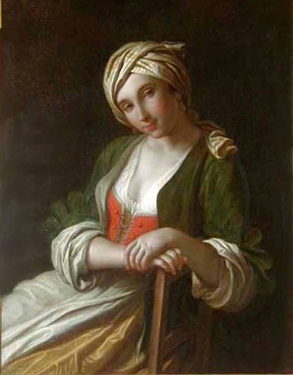 Ротари Пьетро Антонио Pietro Antonio Rotari Сидящая девушка в жёлтом тюрбане