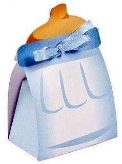 Caja con Forma de Biberón o Pacha con Bebé Niña en Rosa para Imprimir Gratis.