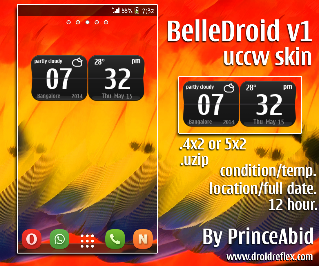 BelleDroid UCCW Clock Widget For Android / UCCW Skin for Android